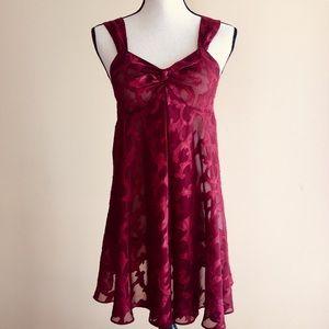 VS Victoria's Secret Babydoll Dress M Wine Burnout